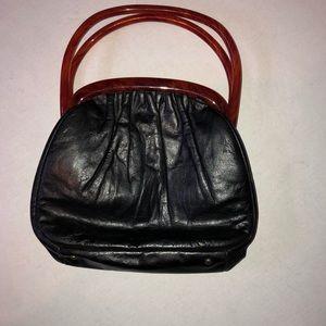 Etra Leather Purse Tortoise Bakelight Handles